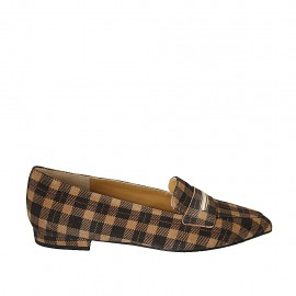 Woman's pointy loafer in plaid brown and beige suede heel 1 - Available sizes:  33, 34, 42, 43, 44, 45