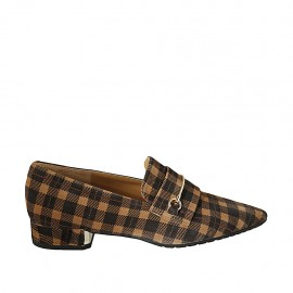 Woman's pointy loafer in plaid brown and beige suede with accessory heel 3 - Available sizes:  33, 34, 42, 43, 44, 45