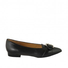 Woman's pointy mocassin with buckle in black leather heel 1 - Available sizes:  33, 34, 42, 43, 46