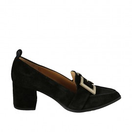Woman's mocassin with buckle in black suede heel 5 - Available sizes:  32, 33, 34, 42, 43, 44, 45