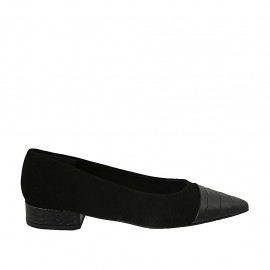 Woman's ballerina shoe in black suede and printed leather heel 2