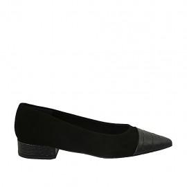 Zapato bailarina para mujer en gamuza y piel imprimida negra tacon 2 - Tallas disponibles:  33, 34, 42, 43, 44, 45, 46