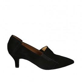 Zapato cerrado para mujer con elasticos en gamuza negra tacon 5 - Tallas disponibles:  32, 33, 34, 42, 43, 44, 45