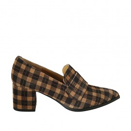 Woman's pointy loafer in plaid brown and beige suede heel 6 - Available sizes:  33, 42, 43, 44, 45