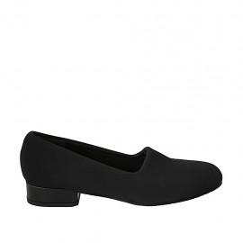 Zapato para mujer en tejido elastico negro tacon 3 - Tallas disponibles:  33, 34, 42, 43, 44, 45