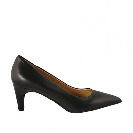 Women's pointy pump in black leather heel 6 - Available sizes:  31, 32, 33, 34, 43, 44, 45, 46