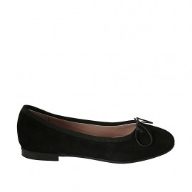 Woman's ballerina shoe with bow in black suede heel 1
