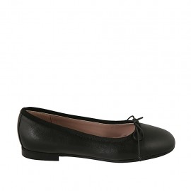 Woman's ballerina shoe with bow in black leather heel 1 - Available sizes:  33, 34, 42, 43