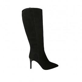 Botas puntiagudos para mujer con cremallera en gamuza negra tacon 8 - Tallas disponibles:  31, 32, 33, 34, 42, 43, 44, 45, 46, 47