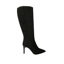Woman's pointy boot with zipper in black suede heel 8 - Available sizes:  31, 32, 33, 34, 42, 43, 44, 45, 46, 47