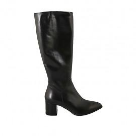 Botas puntiagudas para mujer con cremallera en piel negra tacon 6 - Tallas disponibles:  31, 32, 33, 34, 42, 43, 44, 45, 46, 47