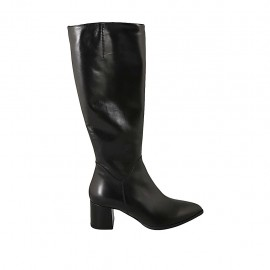 Woman's pointy boot with zipper in black leather heel 6 - Available sizes:  31, 32, 33, 34, 42, 43, 44, 45, 46, 47