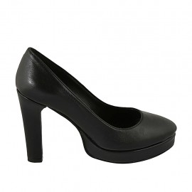 Woman's pointy pump with platform in black leather heel 10 - Available sizes:  31, 32, 33, 34, 42, 43, 44, 45, 46, 47