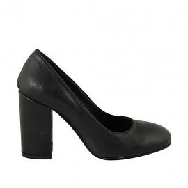 Escarpin pour femmes à bout arrondi en cuir noir talon 9 - Pointures disponibles:  31, 32, 33, 34, 42, 43, 44, 45, 46, 47