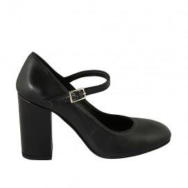 Escarpin pour femmes avec courroie en cuir noir talon 9 - Pointures disponibles:  31, 33, 34, 42, 43, 44, 46, 47