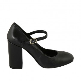 Woman's pump with strap in black leather heel 9 - Available sizes:  31, 33, 34, 42, 43, 44, 46, 47