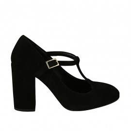 Woman's T-strap pump in black suede heel 9 - Available sizes:  31, 32, 33, 34, 42, 43, 44, 45, 46, 47