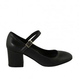 Escarpin pour femmes avec courroie en cuir noir talon carré 6 - Pointures disponibles:  32, 33, 34, 42, 44, 47