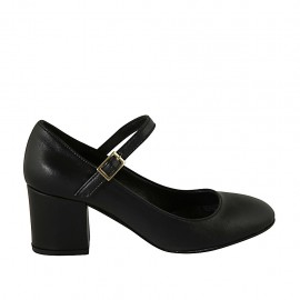 Woman's pump with strap in black leather block heel 6 - Available sizes:  32, 33, 34, 42, 44, 47