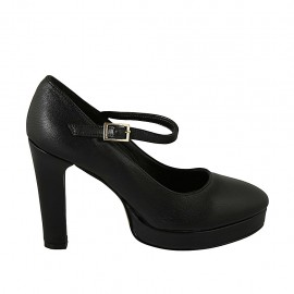 Woman's pointy strap pump with platform in black leather heel 10 - Available sizes:  31, 32, 33, 34, 42, 43, 44, 45, 46, 47
