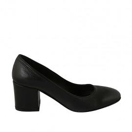 Escarpin pour femmes à bout arrondi en cuir noir talon 6 - Pointures disponibles:  31, 32, 33, 34, 43, 45, 46, 47