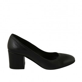 Woman's pump with rounded tip in black leather heel 6 - Available sizes:  31, 32, 33, 34, 43, 45, 46, 47