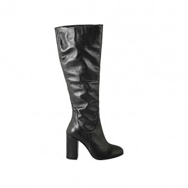 Woman's boot with zipper in black leather heel 9 - Available sizes:  33, 34, 42, 43, 44