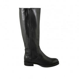 Botas para mujer con cremalleras en piel de color negro tacon 3 - Tallas disponibles:  42, 43, 44, 45, 46, 47