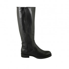 Woman's boot with zippers in black leather heel 3 - Available sizes:  42, 43, 44, 45, 46, 47