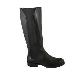 Woman's boot with elastic bands in black leather heel 3 - Available sizes:  42, 43, 44, 45, 46, 47
