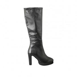 Bota para mujer con plataforma y cremallera en piel negra tacon 10 - Tallas disponibles:  33, 42, 43, 44, 45, 46, 47