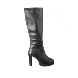 Woman's boot in black leather with platform and zipper heel 10 - Available sizes:  33, 42, 43, 44, 45, 46, 47