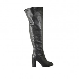 Woman's over the knee boot with half zipper in black leather heel 11 - Available sizes:  42, 43, 47