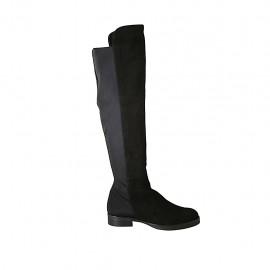 Botas para mujer en gamuza y tejido elastico negro tacon 3 - Tallas disponibles:  42, 43, 44, 45, 46, 47