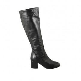 Damenstiefel mit Reißverschluss aus schwarzem Leder Absatz 6 - Verfügbare Größen:  34, 42, 43, 44, 45