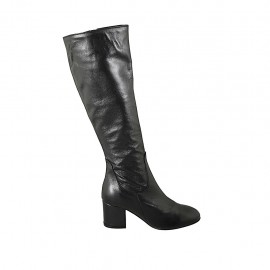 Woman's boot with zipper in black leather heel 6 - Available sizes:  34, 42, 43, 44, 45