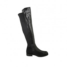 Woman's boot in black leather and elastic fabric heel 3 - Available sizes:  43, 44, 45, 46, 47