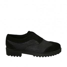 Zapato para mujer en gamuza y piel imprimida negra tacon 3 - Tallas disponibles:  42, 43, 44, 45