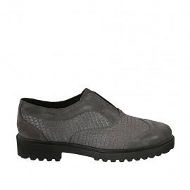Zapato para mujer en gamuza y piel imprimida gris tacon 3 - Tallas disponibles:  42, 43, 44, 45