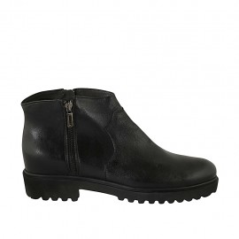 Woman's ankle boot with zipper in black leather heel 3 - Available sizes:  42, 43, 44, 45, 46