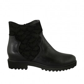 Woman's ankle boot with zipper in black elastic fabric and leather heel 3 - Available sizes:  42, 43, 44, 45, 46