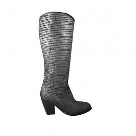 Texanischer Damenstiefel mit Reißverschluss aus grauem bedrucktem Leder Absatz 8 - Verfügbare Größen:  33, 34, 42, 43, 44, 45