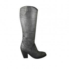 Woman's Texan boot with zipper in grey printed leather heel 8 - Available sizes:  33, 34, 42, 43, 44, 45