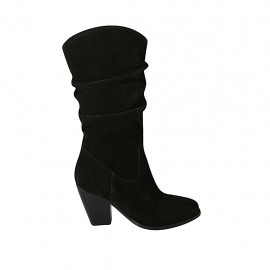 Woman's boot with zipper in black suede heel 8 - Available sizes:  34, 42, 43, 44, 46