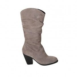 Woman's boot with zipper in dove grey suede heel 8 - Available sizes:  33, 34, 42, 43, 44, 45