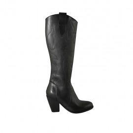 Damenstiefel mit Reißverschluss aus schwarzem besticktem Leder Absatz 8 - Verfügbare Größen:  33, 34, 42, 43, 44
