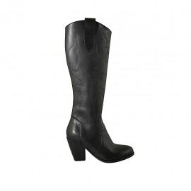 Woman's boot with zipper in black embroidered leather heel 8 - Available sizes:  33, 34, 42, 43, 44