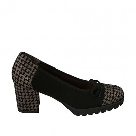 Woman's pump with bow in plaid black and grey suede heel 6 - Available sizes:  32, 33, 34, 42, 43, 44