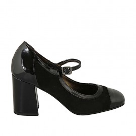 Woman's pump in black suede and patent leather with strap heel 7