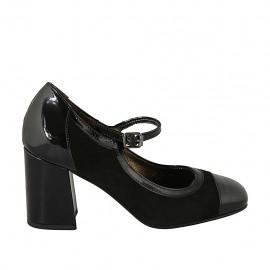 Decolté da donna in camoscio e vernice nera con cinturino tacco 7 - Misure disponibili: 32, 33, 34, 42, 43, 44, 45